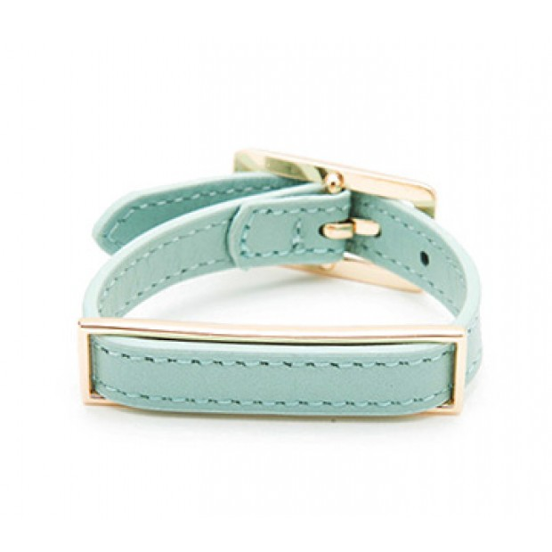 Leather ID Bracelet Collection -  Turquoise